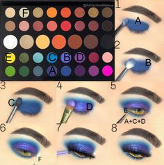 eyeshadow looks step by step using james charles palette ~ eyeshadow using james charles palette ; eyeshadow looks using james charles palette ; eyeshadow looks using the james charles palette ; eyeshadow looks step by step using james charles palette Makeup Eye Looks, Eye Makeup Steps, Blue Eye Makeup, Face Makeup, Blue Eyeshadow Looks, Edgy Makeup, Yellow Eyeshadow, Prom Makeup, Creative Eye Makeup