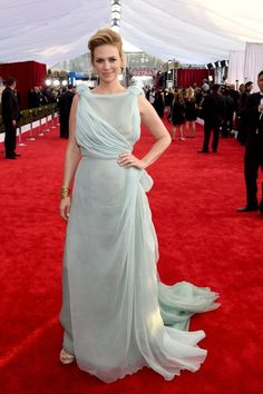 Pin for Later: The SAG Awards Red Carpet Is Basically a Rainbow of Colorful Gowns  January Jones in an ice-blue Schiaparelli Couture gown.
