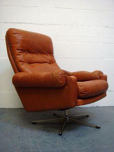 Vintage Danish Orange Tan Leather Swivel Armchair Retro Chair 1960s