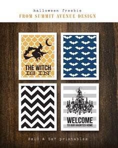 Check out these great free printables for Halloween! Add a white frame and there is your decoration. Theme Halloween, Halloween Cards, Holidays Halloween, Halloween Outfits, Halloween Diy, Halloween Decorations, Modern Halloween, Halloween Printable, Halloween Garland