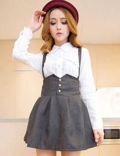 Basic Suspender Skirt with High-Rise For Women