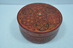 Old Wooden Handcrafted Fine Handpainted Floral Design Bread / Jewellery Box