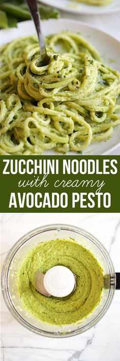Noodles with Creamy Avocado Pesto - Eat Yourself Skinny Zucchini seeds & Basil planted. Garlic already sprouted up. This will be a summer dish, Zucchini Noodles with Creamy Avocado Pesto Zoodle Recipes, Spiralizer Recipes, Veggie Recipes, Vegetarian Recipes, Healthy Recipes, Recipes Dinner, Ketogenic Recipes, Dinner Ideas, Vegan Meals