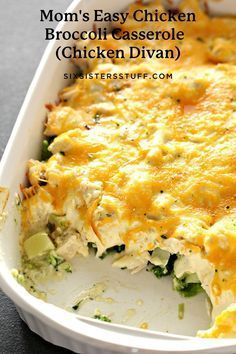 This Cheesy Chicken Broccoli Casserole is a family favorite. Add broccoli and chicken to a creamy sauce, top with cheese and serve over cooked rice or potatoes. Easy Casserole Recipes, Casserole Dishes, Stuffing Casserole, Chicken Divan Casserole, Chicken Recipes, Recipe Chicken, Chicken Divan Recipe Easy, Chicken Meals, Chicken Pasta