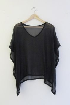 Modern Bohemian V Neck Black Ultra Sheer Kaftan Top