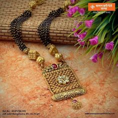 Image may contain: text New Gold Jewellery Designs, Gold Mangalsutra Designs, Jewelry Design Earrings, Beaded Jewelry, Gold Jewelry Simple, Indian Wedding Jewelry, Jewelry Patterns, Fashion Jewelry, Jewels