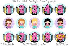 Super Girl! Birthday Numbers ~ FREE Digital Bottle Cap Images!! https://www.facebook.com/thetrendyowlUS http://www.thetrendyowl.com #super #supergirl #hero