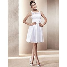 A-line Scoop Short/Mini Taffeta Wedding Dress  – USD $ 87.59