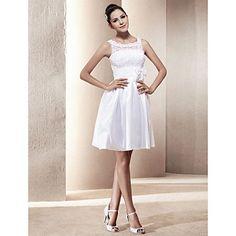 o linie lingura scurt / mini rochie de mireasa din tafta – USD $ 87.59
