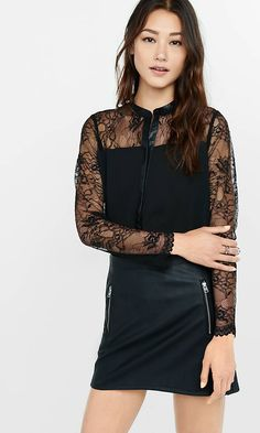 Lace Yoke Faux (minus The) Leather Trim Shirt from EXPRESS: liking this shirt, just need somewhere to wear it.....