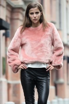 Pink fur sweater yes plzzzz