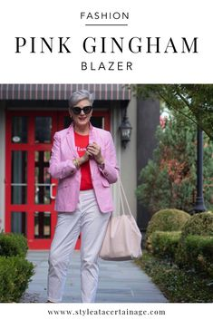 want to add a spring to your step? then don't forget to add color to your wardrobe. like a pink gingham blazer. Over 50 Womens Fashion, Fashion Over 50, Pink Fashion, Preppy Fashion, Women's Fashion, Blazer Fashion, Fashion Outfits, Fashion Trends, Fashion Styles