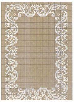 Cross stitch crochet filet tablecloth