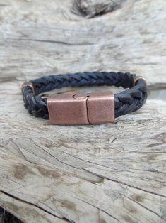 Men's Black Leather Bracelet Black Braided Leather with | Etsy Black Leather Bracelet, Leather Jewelry, Braided Leather, Men's Leather, Black Braids, Jewelry Shop, Gifts For Him, Bracelets, Men's Fashion