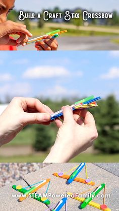 The perfect summer camp project! Kids engineer and build a miniture crossbow lau. The perfect summer camp project! Kids engineer and build a miniture crossbow launcher out of craft Popsicle Stick Crafts For Kids, Craft Stick Crafts, Diy Crafts For Kids, Craft Sticks, Fun Crafts, Popsicle Stick Catapult, Craft Stick Projects, Simple Crafts, Popsicle Sticks