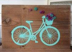 Bicycle sign with basket of felt flowers Rustic Wall Decor handpainted sign Customizable