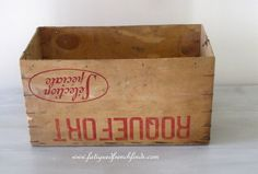 Vintage French Roquefort Cheese Box With Old Label Fabulous Ram Mark Rustic Loft Kitchenalia Display