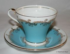 Vintage Aynsley Bone China Turquoise Blue with Ornate Gold Swag Tea Cup Saucer | eBay