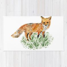 A personal favorite from my Etsy shop https://www.etsy.com/listing/244613326/fox-area-rug-woodland-rug-nursery-rug