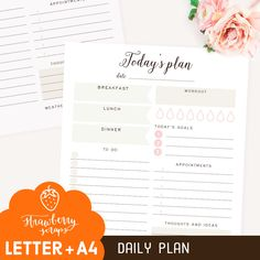 Daily planner printable: TODAY'S PLAN Daily by StrawberryScraps