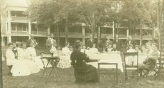 Photo Courtesy Hollins University: The Cocke family at a dinner on the Front Quad at Hollins College circa 1890. East Hall is in the background.   Roanoke.com