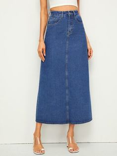 To find out about the Longline Straight Denim Skirt at SHEIN, part of our latest Denim Skirts ready to shop online today! Fall Skirts, Plaid Skirts, Budget Fashion, Fashion News, Fashion Styles, Style Fashion, Triathlon Clothing, Jeans Rock, Outfits