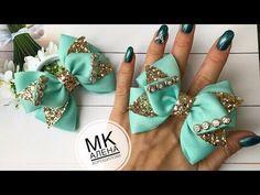 Небольшие бантики из репса Мк Канзаши Алена Хорошилова tutorial ribbon bows laço de fitas diy - YouTube