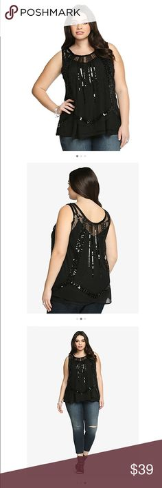 """Torrid beaded tank top Torrid beaded tank top. NWT. This tank top is sheer. A tank top has to be worn under this top. The picture shows a tank top under.  This is one show-stopping black tank! It has a beautifully beaded design that's accented by a gorgeous sequin pattern. Asymmetrical cut mesh gives this posh number a satisfying finish. Features & details 100% Polyester Size 1 Measures 28 3/4"""" From Shoulder Polyester torrid Tops Tank Tops"""