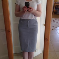 Today's #mmmay16 hot off the sewing machine is a bit of a @grainlinestudio day! Inspired by @fabricgodmother 's perfect white tee I've made my own using the #scouttee. Wearing with a #mossskirt lengthened and tapered to knee length with back pockets and a kick pleat using the pencil skirt pattern from one of the #gbsb books in a stretch denim from @minervacrafts. by sewmarylou