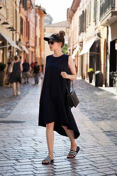 watch e550d e7119 Christine R. - Own Design Dress, Céline Bag, Adidas Adilette Slides - From
