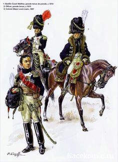 General, officer and colonel of Napoleon's Grenadiers a Cheval of the Guard.  The Grenadiers, by design, had to be over 6 feet tall, then wore exceptionally tall hats, and rode the largest horses, which had to be black.  Much of this was for intimidation, as they were used as shock troops in massed charges.