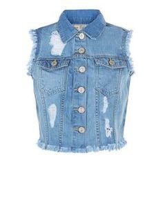 Parisian - Gilet en jean bleu déchiré sans manches | New Look