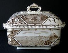 Antique Aesthetic Brown Transferware Tureen ~ Phileau