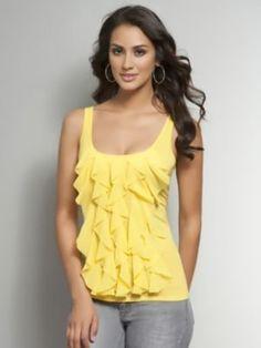 So cute the first time, they brought it back again for Ali 2.0/Mona. Alula by Aritzia Tiered Ruffle Tank Top | Pretty Little Liars
