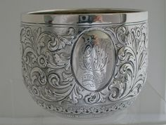 English Sterling floral pattern Repousse Cup by Henry Stratford Sheffield 1890