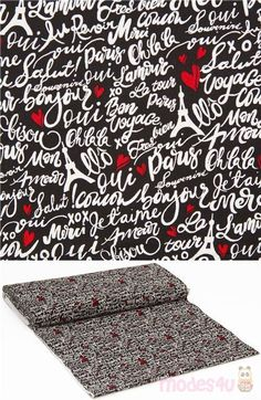 black cotton fabric with handlettered phrases and landmarks of Paris eg Eiffel Tower with red hearts, very high quality fabric, typical great Timeless Treasures quality #Cotton #FamousPlaces #Landmarks #Letters #Numbers #Words #USAFabrics