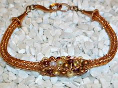 viking knit  | beadwork bracelet Viking Knit chain Copper bead by DonnaDStore