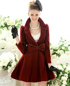 Love this red velvet bow coat!