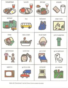 pictures for a visual schedule of home activities