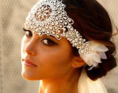 Opal Crystal Lace Headpiece- Jolene