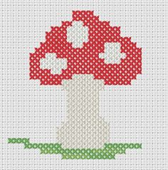 """virtual stitches"" of an original cross stitch chart of a cute toad stool ... get it free over on my blog ."