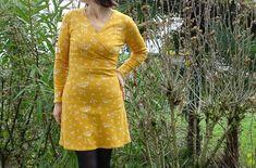 robe Lucille cousue dans un jersey de coton bio brindilles safran (tissu et patron sont en vente sur 36bobines.com) Coton Biologique, Wrap Dress, Shirt Dress, Shirts, Inspiration, Dresses, Fashion, Sewing Lessons, Skirts