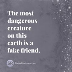 The most dangerous creature on this earth is a fake friend.