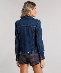 Moda jaqueta jeans com ilhoses manga longa azul médio