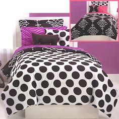 Polka dot bedding on pinterest zebra print bedding beds - Black white pink comforter ...