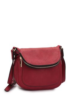 Image of Dasein Faux Leather Front Flap Messenger Bag