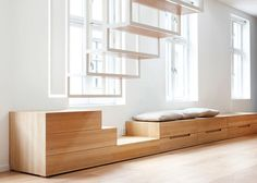 Suspended Staircase Floats Above Oslo Apartment - My Modern Metropolis : v v cool built in furniture. Love the way the stairs continue into the bench, which in other photos is used with the dining table. Slick