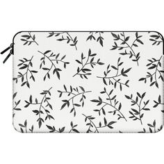 BLACK LEAVES - Macbook Sleeve ($60) ❤ liked on Polyvore featuring accessories…