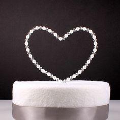 Heart Wedding Cake Topper Custom Wire Sculpture Simple Classic Pearl Swarovski Crystal Heart Love