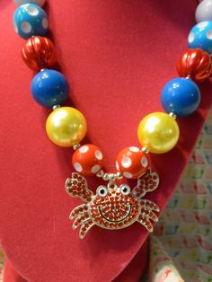 Summer Crab Girls Chunky Necklace *Ready to Ship USA FREE by PinkSnailBoutique on Etsy